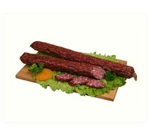 Smoked sausage on wooden board 2 Art Print