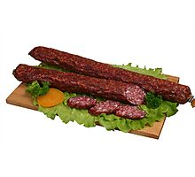 Smoked sausage on wooden board 2 Photographic Print
