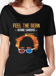 Feel The Bern - Bernie Flaming Hair Shirt with Patriotic Glasses Women's Relaxed Fit T-Shirt
