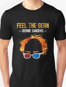Feel The Bern - Bernie Flaming Hair Shirt with Patriotic Glasses T-Shirt