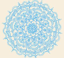 Pale Blue Pencil Pattern - hand drawn lace mandala by micklyn
