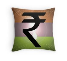 Indian Rupee Background Throw Pillow