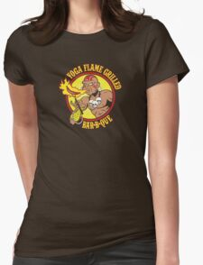 Yoga Flame Grilled BBQ Womens Fitted T-Shirt