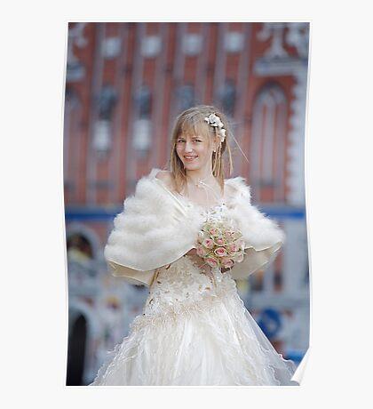 Bride with cream-colour rose bouquet Poster