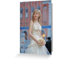 Bride with cream-colour rose bouquet Greeting Card
