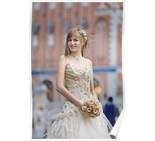 Bride with cream-colour rose bouquet Poster