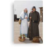 Retro style picture with nurse and soldier Canvas Print