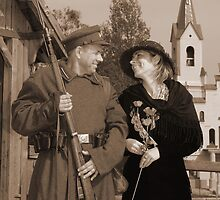 Retro style picture with woman and soldier by fotorobs
