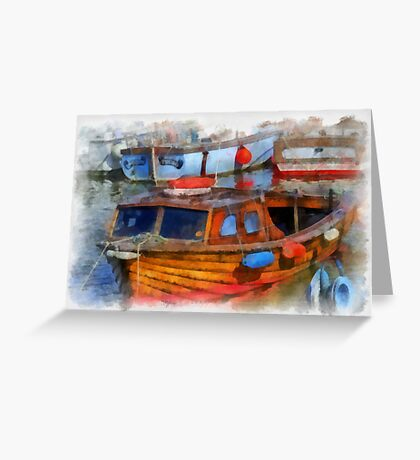 Boats in West Bay, Dorset, UK Greeting Card