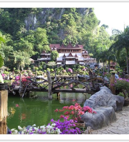 Buddhist Monastery with Water Garden Sticker