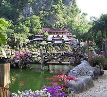 Buddhist Monastery with Water Garden by LeeLeon