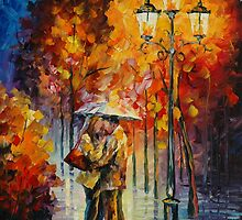KISS UNDER THE RAIN - LEONID AFREMOV by Leonid  Afremov