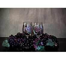 Hand Painted Wine Glasses, Grapes & More Grapes Photographic Print