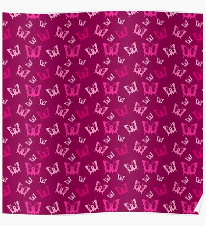Breast Cancer Butterfly Ribbons Poster