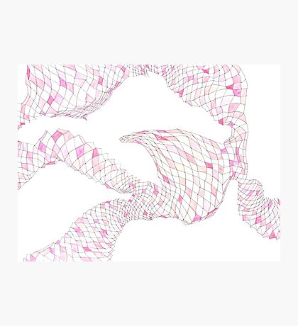 Geometric landscape pink drawing Photographic Print