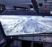 Mt. Rainier from an Airbus A320 Cockpit by Stephen Gay