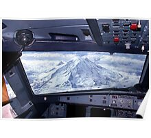 Mt. Rainier from an Airbus A320 Cockpit Poster