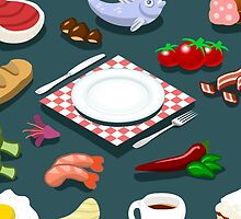 Diet Set Food Isometric by aurielaki