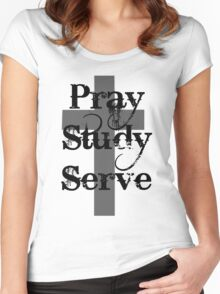Pray Study Serve Women's Fitted Scoop T-Shirt