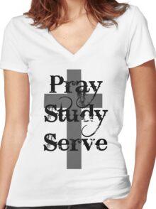 Pray Study Serve Women's Fitted V-Neck T-Shirt