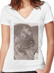 abstract dog Women's Fitted V-Neck T-Shirt