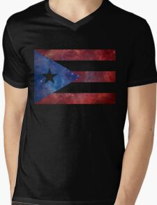 Puerto Rico Bandera Nebula Mens V-Neck T-Shirt