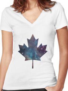 Maple Leaf Nebula Women's Fitted V-Neck T-Shirt