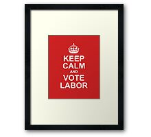 keep calm and vote labor Framed Print