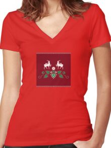 Christmas seamless pattern Women's Fitted V-Neck T-Shirt