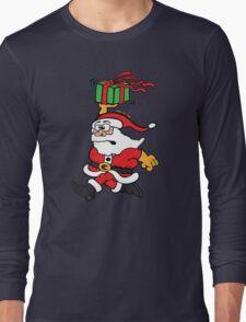 Santa Claus in a Hurry Long Sleeve T-Shirt
