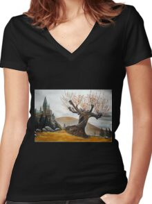 Whomping Willow :) Women's Fitted V-Neck T-Shirt