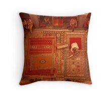 Carpet sellers in Morocco Throw Pillow