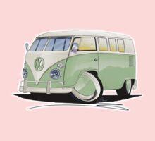 VW Splitty (11 Window) Pale Green One Piece - Short Sleeve