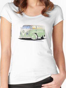 VW Splitty (11 Window) Pale Green Women's Fitted Scoop T-Shirt