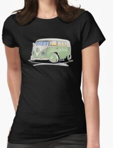 VW Splitty (11 Window) Pale Green Womens Fitted T-Shirt