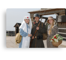 Retro styled picture with two womens and soldier Canvas Print