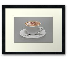 Cappucino in white cup Framed Print