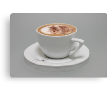 Cappucino in white cup Canvas Print