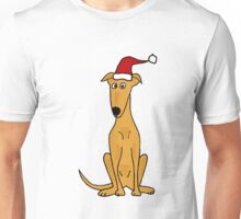 Cool Funky Greyhound Sitting with Santa Hat Unisex T-Shirt