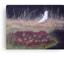 """Heron Over Autumn Marsh"" Canvas Print"