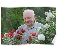 Portrait of grower of roses Poster
