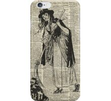 Witch with Broom and Cat Haloowen Party Decoration Gift in Vintage Style iPhone Case/Skin