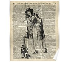 Witch with Broom and Cat Haloowen Party Decoration Gift in Vintage Style Poster