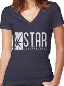 STAR Labs - White - Grunge Women's Fitted V-Neck T-Shirt
