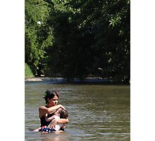Mother and kid taking a bath in the jungle river Photographic Print