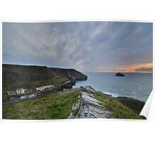 Cornwall: Moody Skies Over Trebarwith Strand Poster