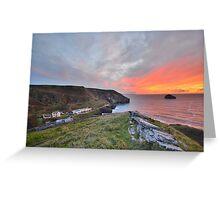 Cornwall: A Golden Finale at Trebarwith Strand Greeting Card