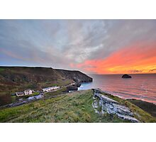 Cornwall: A Golden Finale at Trebarwith Strand Photographic Print