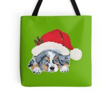 Blue Merle Aussie Christmas Puppy Tote Bag