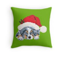Blue Merle Aussie Christmas Puppy Throw Pillow